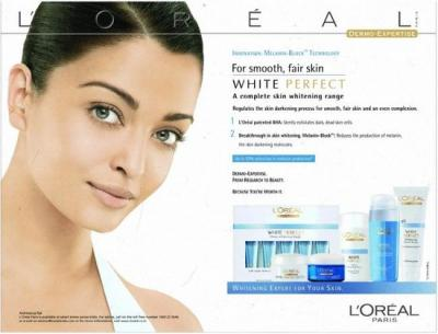 """Indian fairness cream ad [...I like how this one uses the phrase """"white perfect""""...]"""
